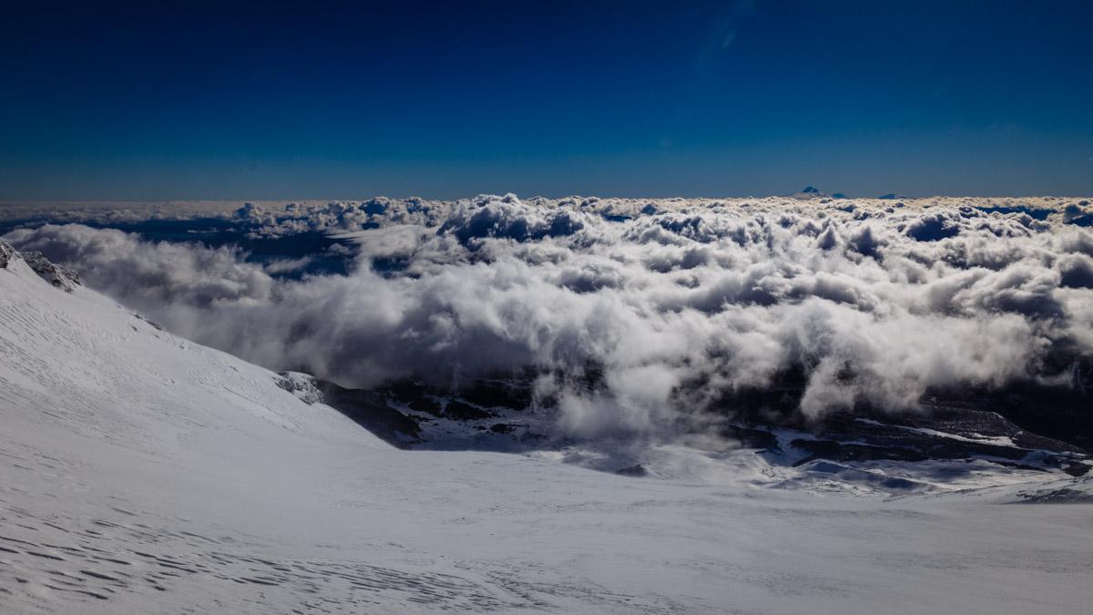 Au-dessus des nuages, volcan Villarica, Pucón